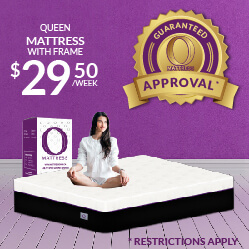 Queen O Mattress with frame $29.50 a week - Guaranteed Approval