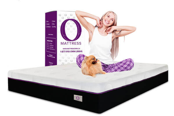 O Mattress king size girl with dog sitting on mattress
