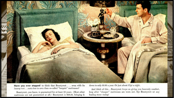 A 1949 advertisement for the Beautyrest Mattress from Simmons.