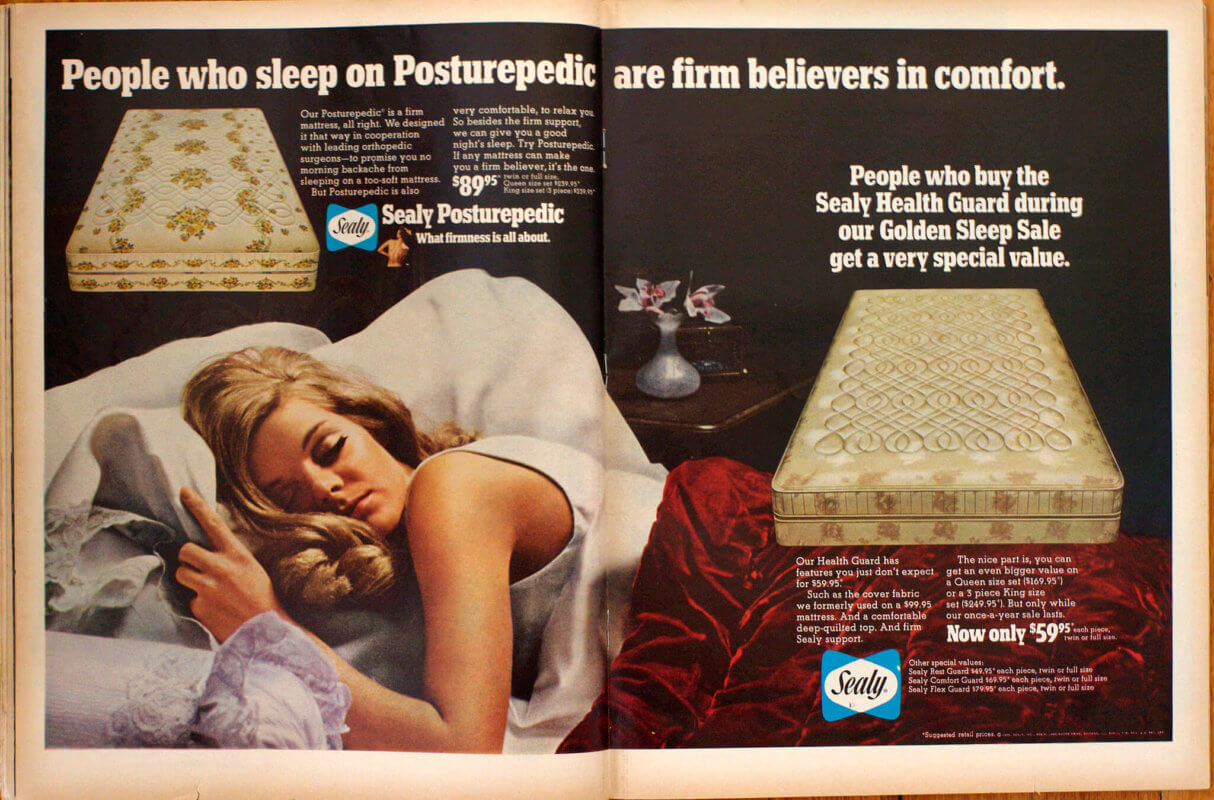 An advertisement decades old for Sealy Mattresses.
